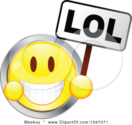 1097071-Clipart-Yellow-And-Chrome-Cartoon-Smiley-Emoticon-Face-Laughing-And-Holding-An-Lol-Sign-Royalty-Free-Vector-Illustration